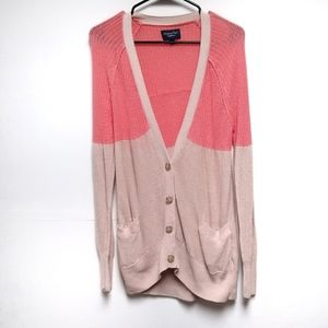 American Eagle Coral and Tan Knit Long Cardigan Md